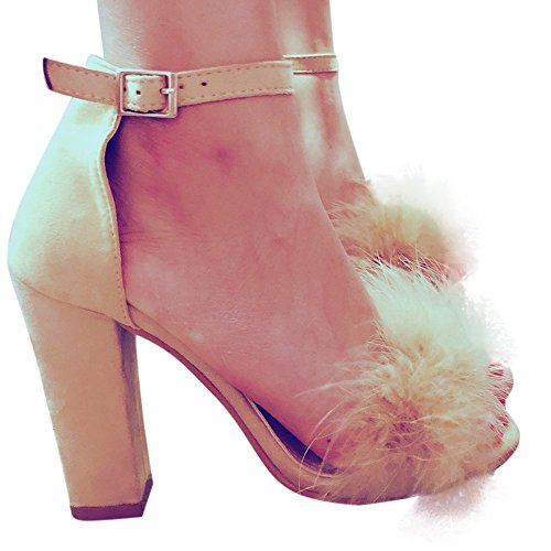 OverDose Women Block High Heel Sandals Fur Strappy Platforms Tie Up Shoes (UK 3 = EU 34 = 22.5 cm, Beige)