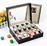 Father's Day Gift | Elegant 10-Slots Watch Box Case Organizer Display Storage Tray for Men & Women with Clear Glass Top