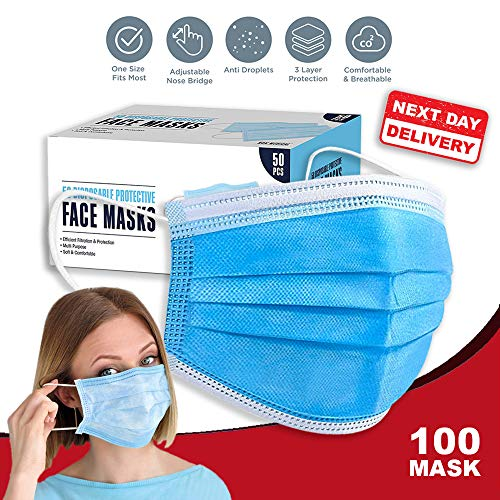 3 PLY Face_Masks disposable for Adults,Disposable Protective Breathable Face Coverings,Motorbike_Face_Masks Breathable…