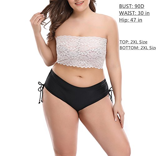 212696536e9 CENG MAU Women s Plus Size Floral Lace Unlined Stretchy Strapless Bandeau Tube  Tops See Through Bras