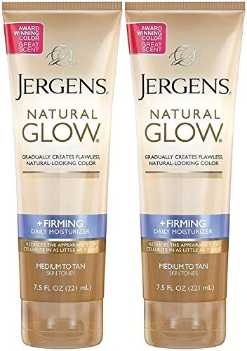Jergens Natural Glow +Firming Daily Moisturizer, Medium to Tan Skin Tones, 7.5 Ounce (2 Pack) (Best Drugstore Cellulite Cream Reviews)