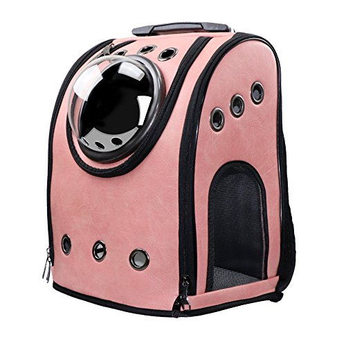(Texsens Innovative Traveler Bubble Backpack Pet Carriers Airline Travel Approved Carrier Switchable Mesh Panel for Cats and Dogs (One Size, Pink))