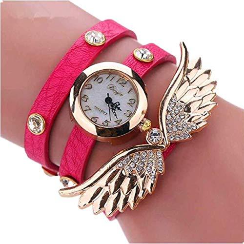 - TOPOB New Trend Retro Rivet Strap Bracelet Watch Angel Wings Creative Diamond Personality Cute Quartz Watch (Hot Pink)