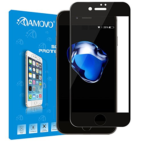 AMOVO Screen Protector for iPhone 7 [iPhone 7 Full Cover Tempered-Glass], Premium HD 0.33mm Round Angle Anti-Fingerprint Screen Glass Protector for iPhone 7 (4.7) (iPhone 7, Black)