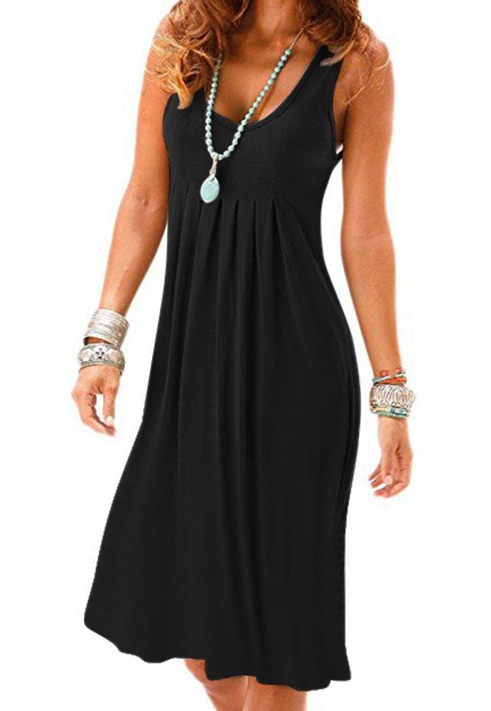 893967f166b9 ... Tank Long Sleeve/Sleeveless Knee Length Pleated Sun Dresses · Women  Casual Summer Vest Dresses Loose Cotton Sleeveless Pleated Fashion Plain