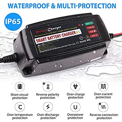 12V 5A Trickle Battery Charger, Battery Maintainer for Car, Automobile, Motorcycle, Lawnmower, Marine, Boat, ATV, RV, UTV, Ride-on Toy, SLA GEL VRLA Wet AGM Sealed Lead Acid Battery Charger: Automotive