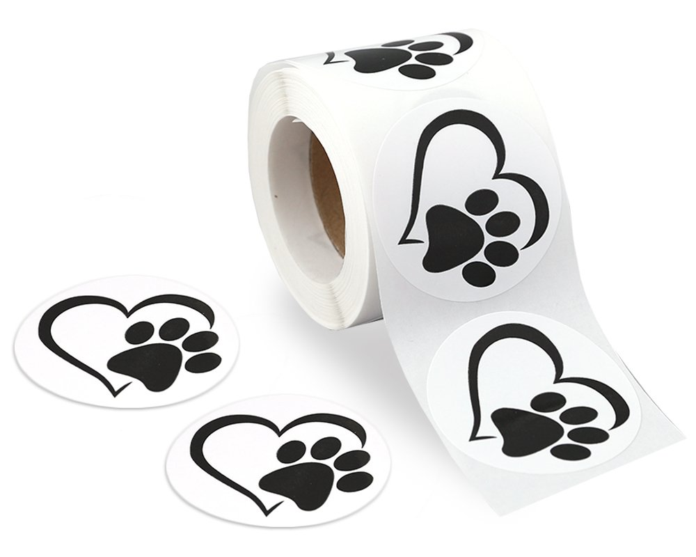 Black Paw Print Stickers on a Roll (Heart Paw)