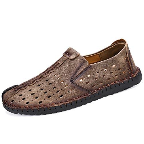 Mocasines De Slip Hombres Moda De En de Verano Verano Zapatos Cuero Caqui Zapatos De rztqn5XqxI