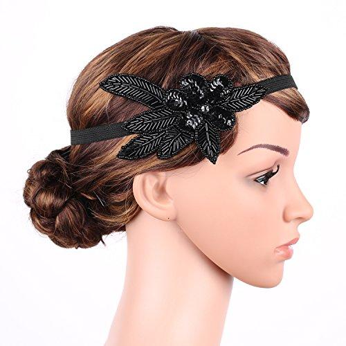 Babeyond bandeau serre tête couronne noir femme vintage pour les années 1920 gatsby le magnifique