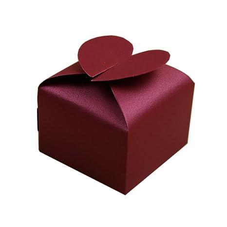 SHINA 50pcs Cajas de forma de Corazón para Fiesta Boda Favor Cumpleaños Caja de regalo Caja