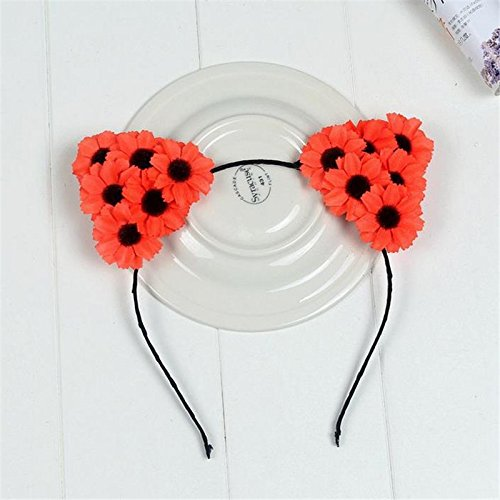 (365Cor - Hair Accessories White Rose Flower Cat Ears Hairbands Girls Flower Headband Kids Handmade Cloth Floral Hair Bands [ Type 5 ])