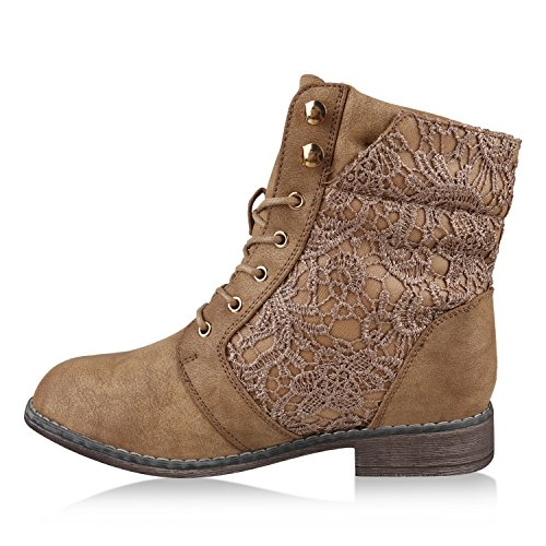 Zipper Khaki Boots Stiefelparadies Combat Women's YqwOxOZaz