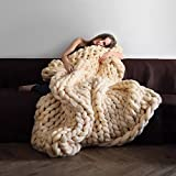 Giant Knit Blanket Hand-made Merino Wool Blend Chunky Bed Sofa Throw Super Large (Beige, 40''x60''/100x150 CM)