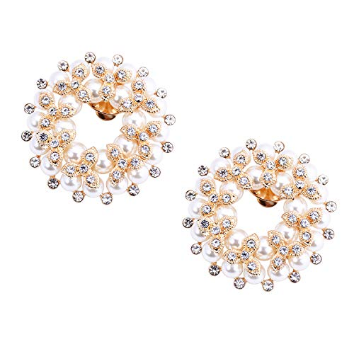 (ElegantPark DE Women Round Pearl Rhinestones Shoe Clips Jewelry Decorations Charms Wedding Party Accessories Gold 2 Pcs)