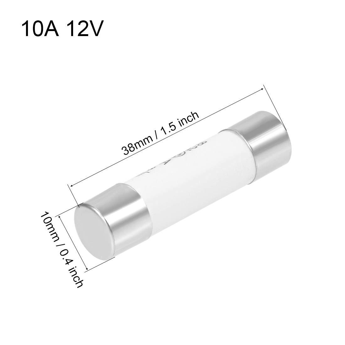 Sourcingmap fusibles de Cartucho para autom/óviles DC 500 V 10 x 38 mm Repuesto para Amplificador de Alarma de Audio est/éreo de Coche cer/ámica