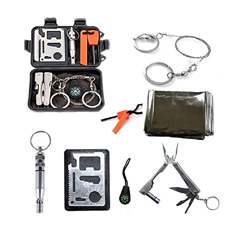 Survival Kit Outdoor Emergency Gear Kit for Camping Hiking Adventure or Travel, 8 in 1 Camping Kit