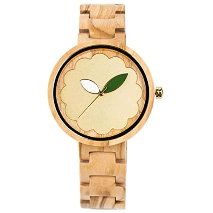 Reloj de Madera de Moda, Trend Niñas Watch Novel Leaf Surface Simple Wood Wristwatch(