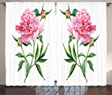 Cheap Ambesonne Watercolor Flower Curtains, Vintage Peony Painting Botanical Spring Garden Flower Nature Theme, Living Room Bedroom Window Drapes 2 Panel Set, 108 W X 90 L Inches, Pink White Green