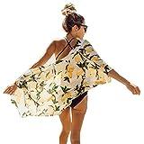 QIUYEJUO 2018 Women's Floral Kimono Cover up - Lemon Pattern Rayon Cotton Beachwear for Bikini,Cardigan and Swimwear one Size