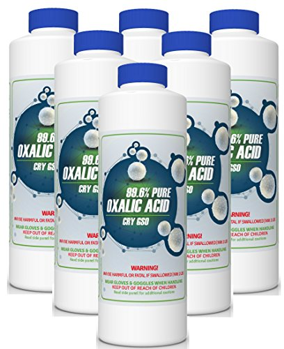 99.6% Pure OXALIC Acid Powder C2H2O4 (Ethanedioic Acid Dihydrate) Rust Remover, Bleaching Agent, Wood Stain Remover & More! (6 x 2 lb Case)