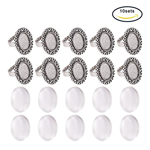 Pandahall 10 Sets Antique Silver 13x18mm Oval Transparent Glass Cabochons and Iron Flower Finger Ring Components Alloy Cabochon Bezel Settings for Ring Making