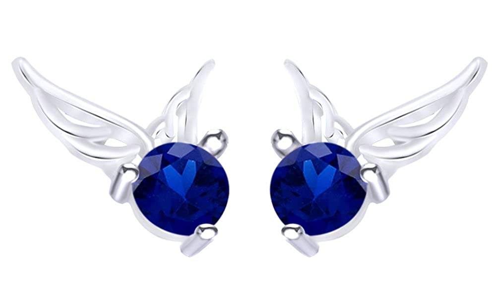 Round Cut Simulated Angel Wing Stud Earrings In 14K White Gold Over Sterling Silver