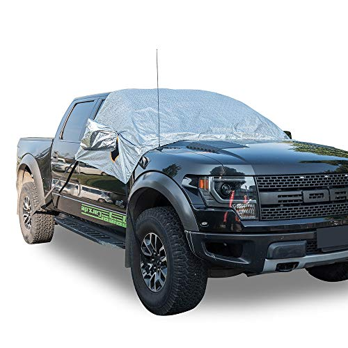 MARKSIGN Universal Fit Windshield Snow and Frost Cover for Large SUVs and Pickup Trucks, Anti-Theft Tuck-in Flaps, Cotton Lined PEVA Fabric, Mirror Covers Included