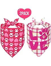 SCENEREAL Dog Bandanas Valentine's Day 2 Pack - Cute Triangle Scarf Pet Holiday Costume, Red Heart and Pink Plaid with Love Design for Dogs