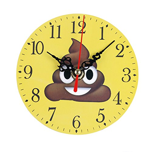 ROSENICE Round Bedroom Clock Cartoon Expression Pattern Clock for Home Wall Table Desk Decoration (Analog Composite)