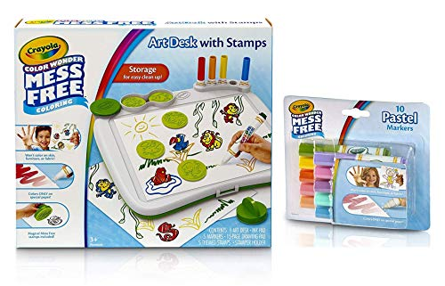 (Crayola Color Wonder Mess Free Bundle, Color Wonder Mess Free Art Desk Color Wonder Mess Free Pastel Markers 10 Count)