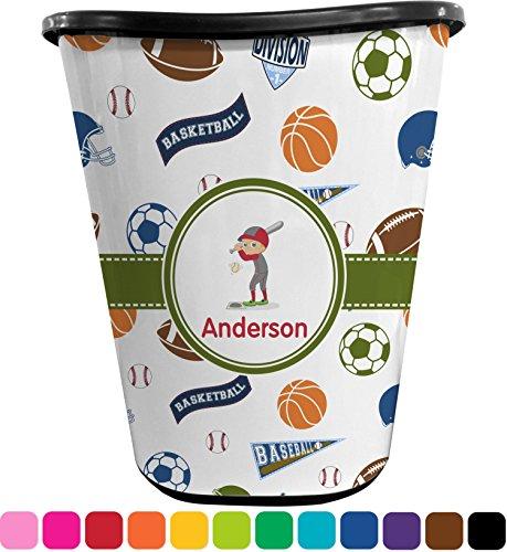 RNK Shops Sports Waste Basket - Double Sided (Black) (Personalized Wastebasket)
