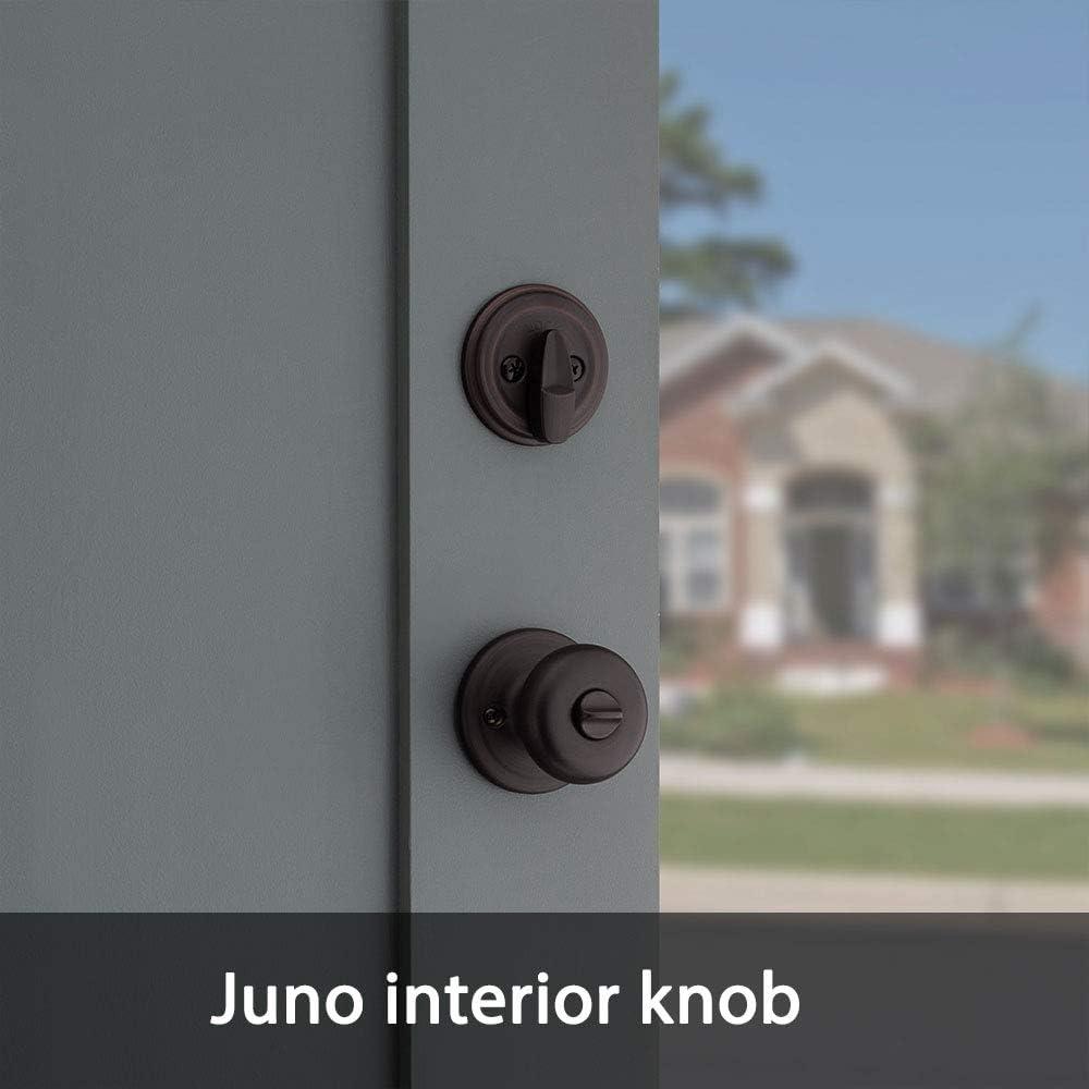 Kwikset Montara Single Cylinder Handleset w//Juno Knob featuring SmartKey in Venetian Bronze