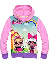 Girls Zip Hoodie Sweatshirt Children Coat Cartoon Jacket Outwear Doll Surprise