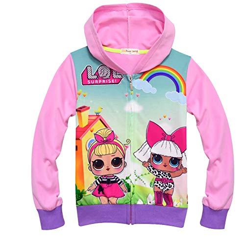 (zaring Girls Zip Hoodie Sweatshirt Children Coat Cartoon Jacket Outwear Doll Surprise (Pink,)