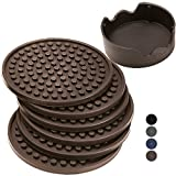 BIack FRlDAY SaIe - Enkore Coasters Set of 6 with Holder, Espresso Brown - Protect Your Furniture From Water Damage & Scratch - Ample Size, Stay Put, Functional On Both Sides
