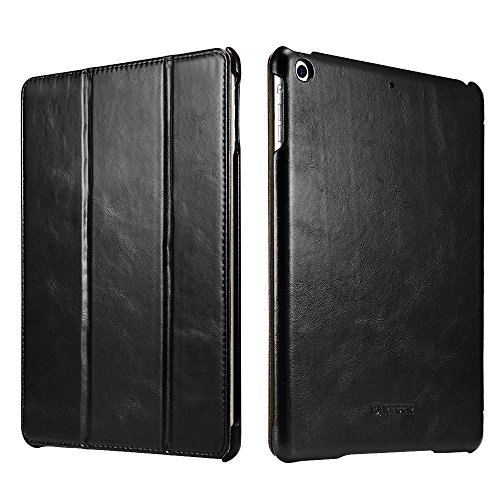 New iPad Case, Icarercase Vintage Series Genuine Leather Folio Flip Smart Cover Leather Case with Auto Wake / Sleep Function [Magnetic Latch] Kickstand for Apple iPad Air / iPad 5 (Black)