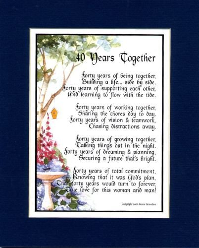 A Gift Present Poem For A 40th Wedding Anniversary, #118