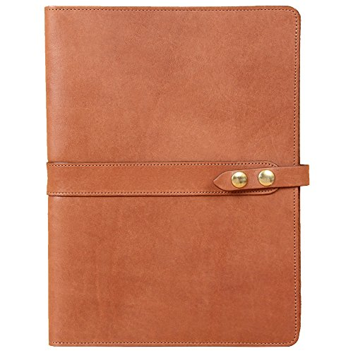 Leather Business Portfolio Case for Tablets iPad Folio No. 18 Saddle Tan Full-Grain