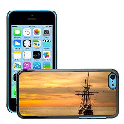 Stampato Modelli Hard plastica Custodie indietro Case Cover pelle protettiva Per // M00421745 Coucher de soleil Bateau Mer Navire // Apple iPhone 5C
