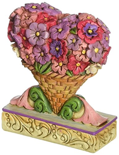 "Heart Figurine (Jim Shore Heartwood Creek Mini Flower Heart Bouquet Stone Resin Figurine, 3"")"