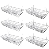 Only Garment Racks #5624W (Pack of 6) White Wire Baskets for Grid Wall, Slat Wall or Pegboard - Merchandiser Baskets, White Wire Basket 24'' L x 12'' D x 4'' H (Set of 6) (Pack of 6)