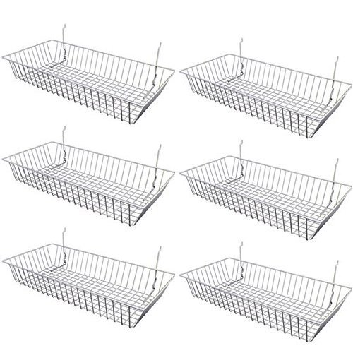 Only Garment Racks #5624W (Pack of 6) White Wire Baskets for Grid Wall, Slat Wall or Pegboard - Merchandiser Baskets, White Wire Basket 24'' L x 12'' D x 4'' H (Set of 6) (Pack of 6) by Only Garment Racks (Image #1)
