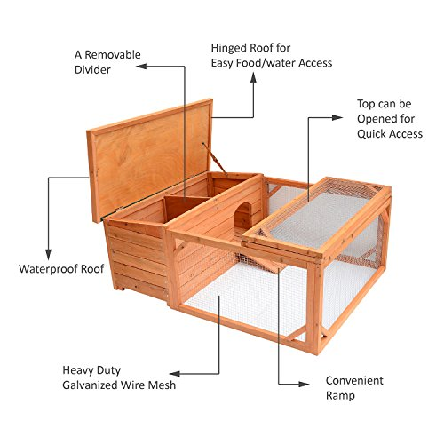 Pawhut Small Wooden Bunny Rabbit & Guinea Pig / Chicken Coop w/ Outdoor Run by PawHut (Image #2)