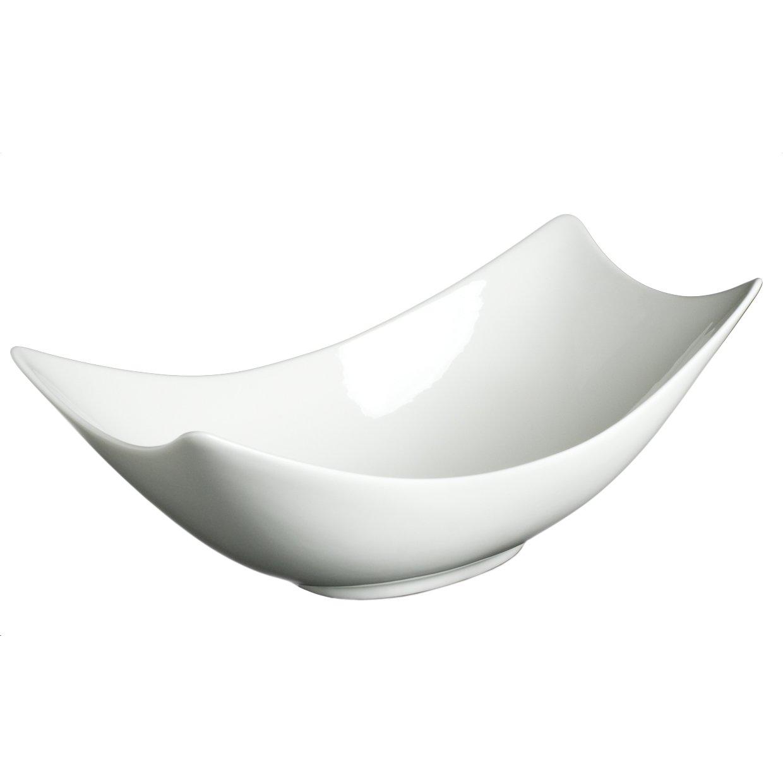 Fortessa Fortaluxe SuperWhite Vitrified China Dinnerware, 10-1/2-Inch Rectangular Flair Serving Bowl Set of 3
