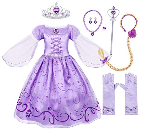HenzWorld Rapunzel Costume Girls Birthday Party Dress Princess Accessories Braid Headband Tiara]()