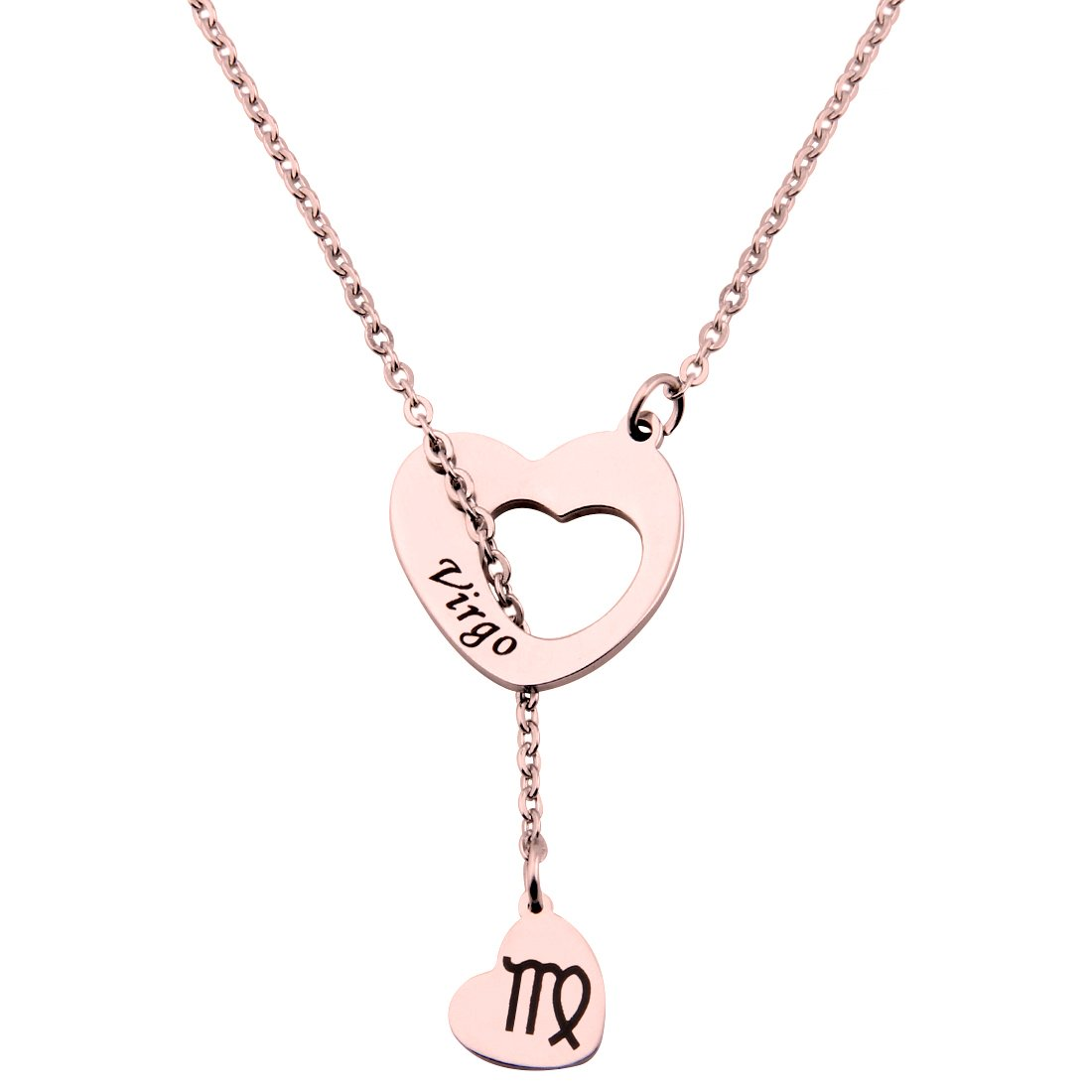 ENSIANTH Rose Gold Zodiac Signs Heart Necklace Stainless Steel Lariat Y Necklace Best Birthday Gift (Virgo)