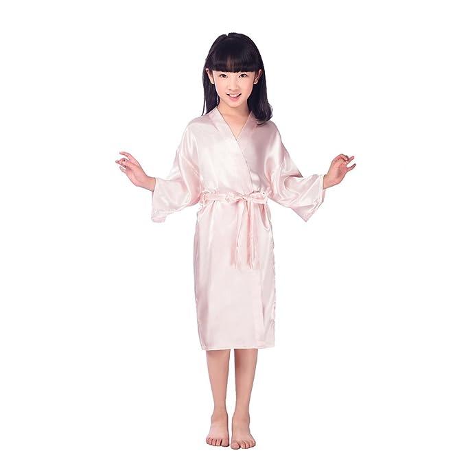 BOYANN Niños Niñas Flor Kimonos Pijamas Batas Vestido de Novia Rosa Claro