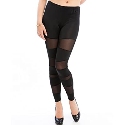 842 - Plus Size Sexy Sheer Panels Mesh Stretchy Pants Leggings Black