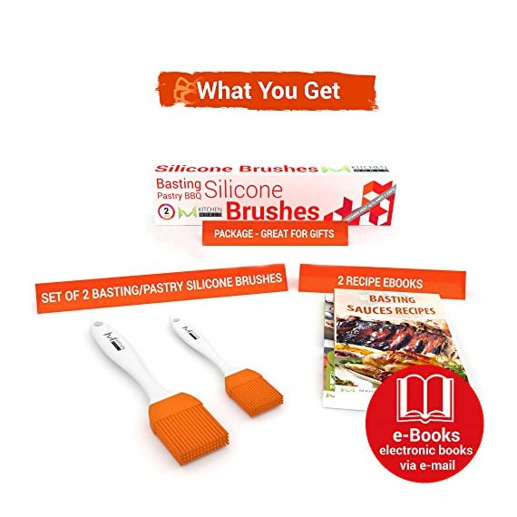 M kitchen world pastry brush - silicone baster brushes for baking & glazing pastry or basting marinating meat - oil… 3 no more hair in your food: our high performance flexible mkitchen silicone brushes are premium quality and will not melt, warp, discolor, or shrink like regular plastic or wooden brushes. The bristles will not break or shed in your food like old brushes. They are heat resistant up to 446⁰f / 230⁰c and can be used in the kitchen, the grill and on non-stick pans. The lightweight handle provides a soft comfortable firm grip making basting easy prevent bacteria and mold build-up: the mkitchen world basics silicone cooking utensils will not stain or retain odors (great for vinegar, hot butter, egg whites, margarine, oil, basting sauce). The heads prevent bacteria and mold build up and are removable for easy cleaning by hand or in the dishwasher better and more efficient spread: the mkitchen world pastry | basting | bbq brushes have 4 rows of 15 silicone coated bristles designed to mop up and hold generous amounts of liquid (bbq sauce, butter glaze) better and more efficiently than average brushes