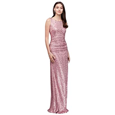 204f6961 David's Bridal Long Sequin Tank Bridesmaid Dress with Cowl Back Style  F19400, Rose, S